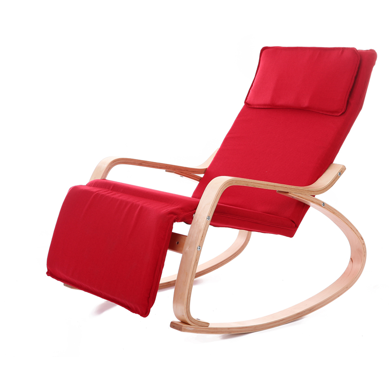 Comfortable Relax Wood Rocking Chair With Foot Rest Design Living Room Furniture Adult Lounge