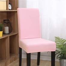Solid Color Elastic Fitted Chair Covers For Weddings Stretch Spandex Removable Kitchen Dining Room Xmas Seat Cover
