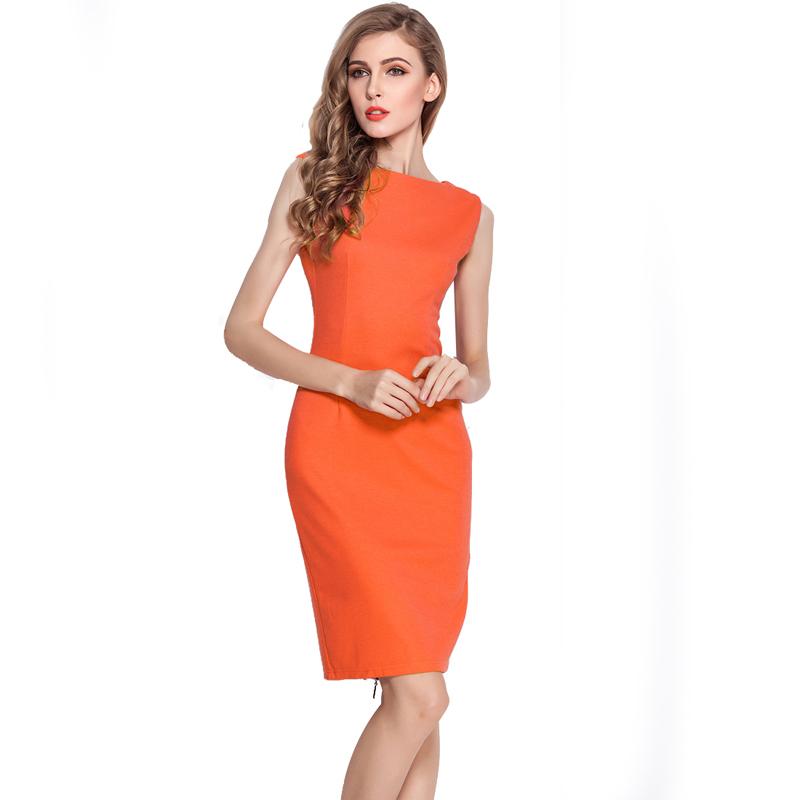 spring 2015 European Pop Star Plus Size prom dress Women summer Formal Business Office Zip Knee Length Bodycon Pencil Dress 255(China (Mainland))