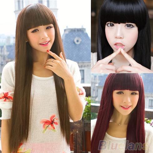 Гаджет  New Style Fashion Long Straight women wigs Full Hair Wigs Cosplay/Party 02JY None Волосы и аксессуары