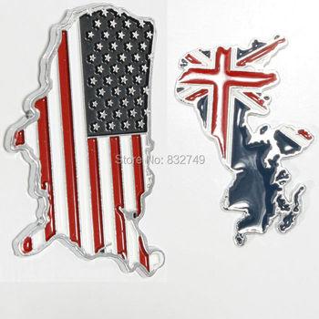 New 3D Car sticker British & US Map flag logo