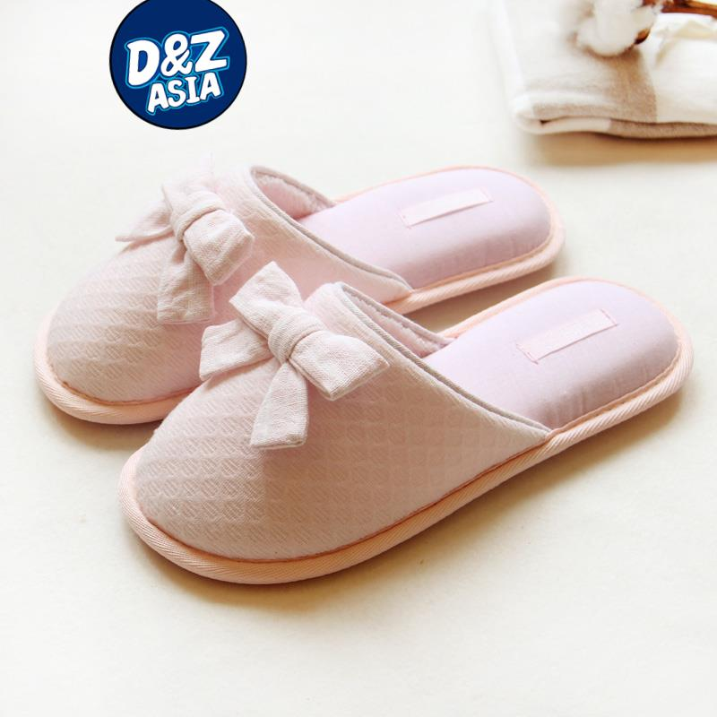 Indoor slippers home cute pink bow breathable cotton slippers women ghibli<br><br>Aliexpress