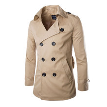 2016 New Fashion Men Solid Slim Trench Coat England Style Long Jacket Overcoat Double Breasted with Sashes Party Wear M-XXL(China (Mainland))