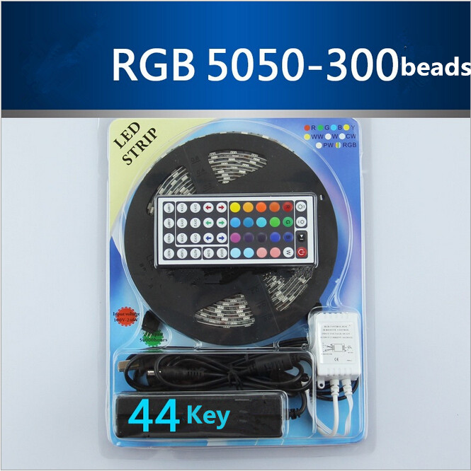 White/Bule/Yellow/Red/Green 5m RGB 5050 LED strip light tape diode 300leds non waterproof ip60+44 Key controller free shipping<br><br>Aliexpress