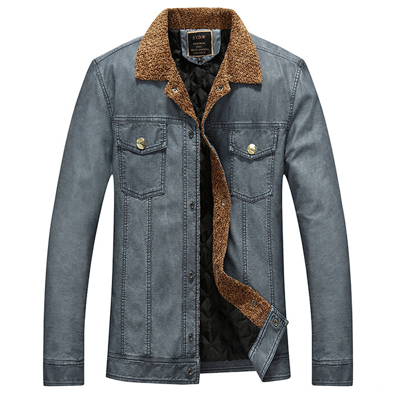 Men's Leather Jacket Men's Casual Solid Warm Outerdoor Coat jaqueta de couro masculina hombre Brand Clothing Male Jackets 2016(China (Mainland))