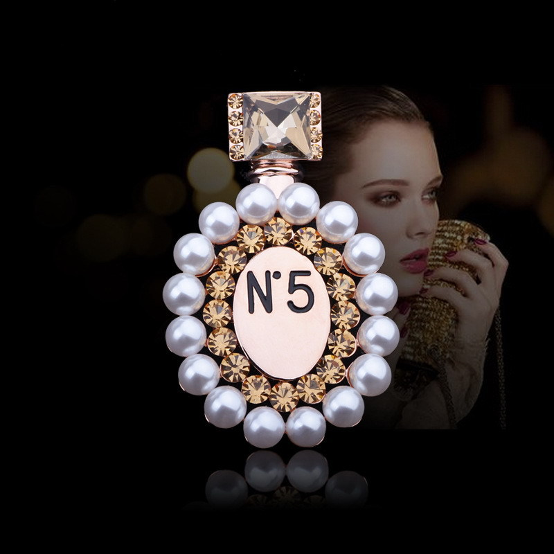 Fashion Pearl Perfume Bottle Brooch Pin pearl Garment channel Brooch Pin Birthday Gift CC Brooches 094(China (Mainland))