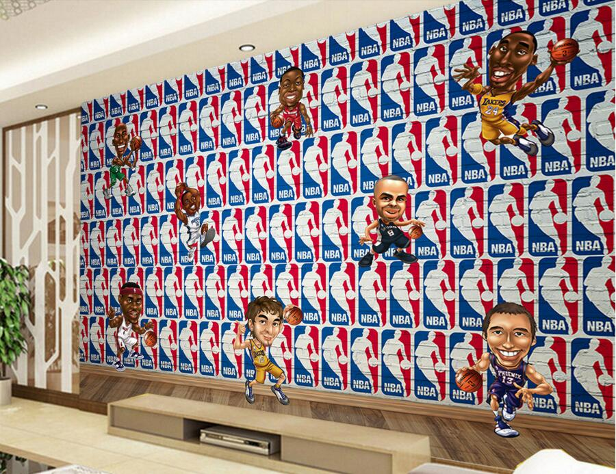 Custom 3d large murals basketball stars cartoon icon papel for Basketball mural wallpaper