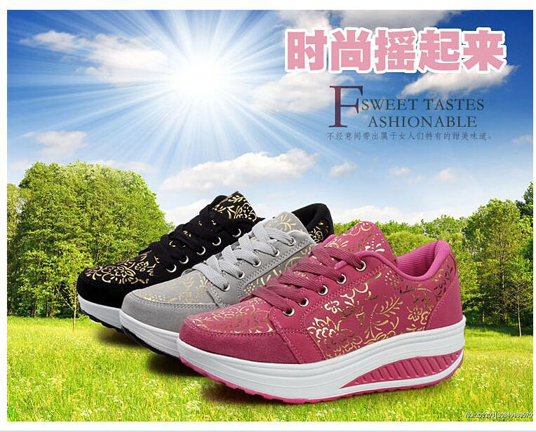 2015 new perfectly design suede lose weight health sneakers shoes female shape up shoes fitness massage steps shoes Eur36#-41#(China (Mainland))