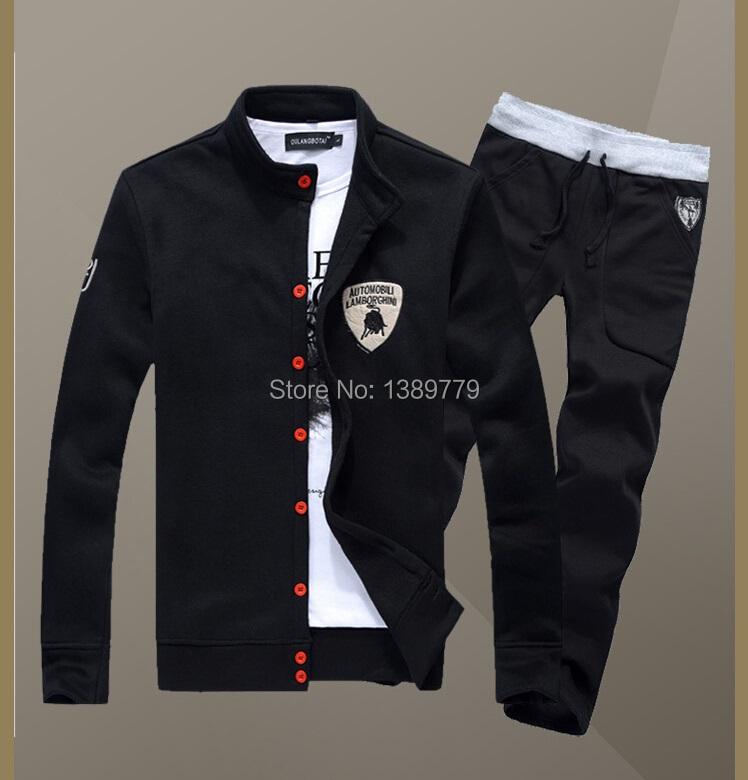 Hot sale Free shipping 2015 new men's cardigan collar sport suits dress Hip hop men casual men 5 Color 5 Size Men's sports suit(China (Mainland))