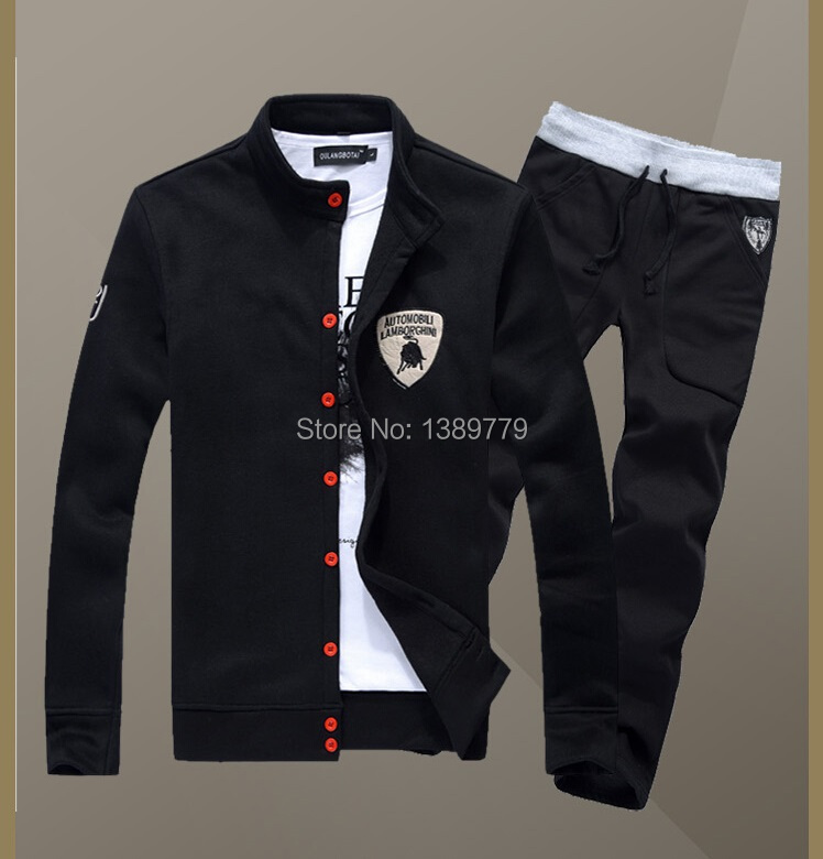 Hot sale Free shipping 2015 new men's cardigan collar sport suits dress Hip hop men casual men 5 Color 5 Size Men's sports suit(China (Mainland))