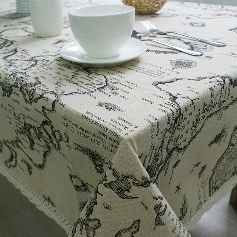 2016 Summer New Arrival Table Cloth World Map High Quality Lace Tablecloth Decorative Elegant Table Cloth Linen Table Cover(China (Mainland))