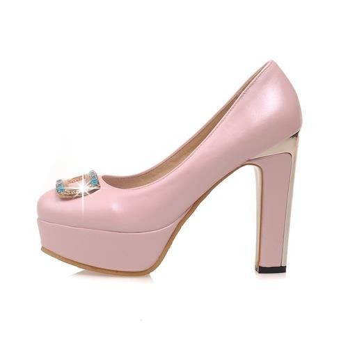 2015 new summer cute spike heel pumps heels with rhinestones made of high quality PU women round toe pure color shoes platform<br><br>Aliexpress