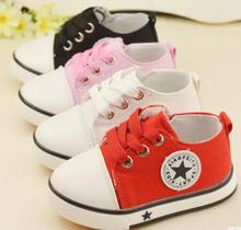 Classic child canvas shoes soft bottom girls and boys shoes lace Korean version of the 2016 new solid color(China (Mainland))
