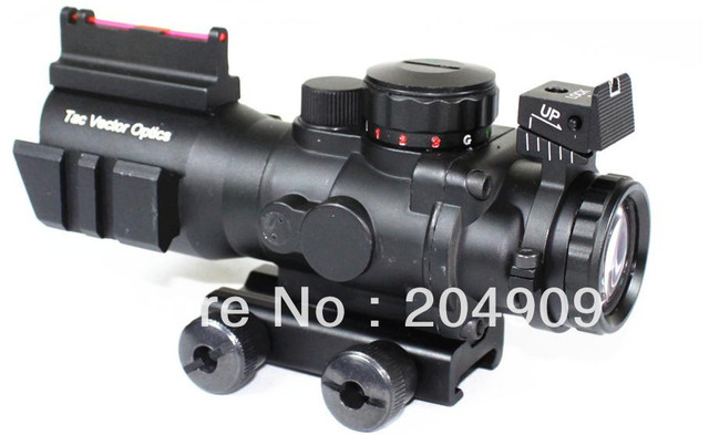 Free Shipping Tactical 4x32 Compact Prism Rifle Scope Fiber Vector Optics Sight 223 Ballistic Chevron Reticle w/ Two Side Rail