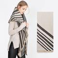 2016 za Brand Winter Stripe Pattern Cashmere Women oversized Soft Scarf Shawl Wrap