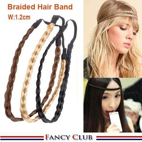 Free Shipping Hot Pretty Girl Plait Braided Hair Head Band Plaited Colors Braid Headband Hair Extension Gold/Brown/Black(China (Mainland))