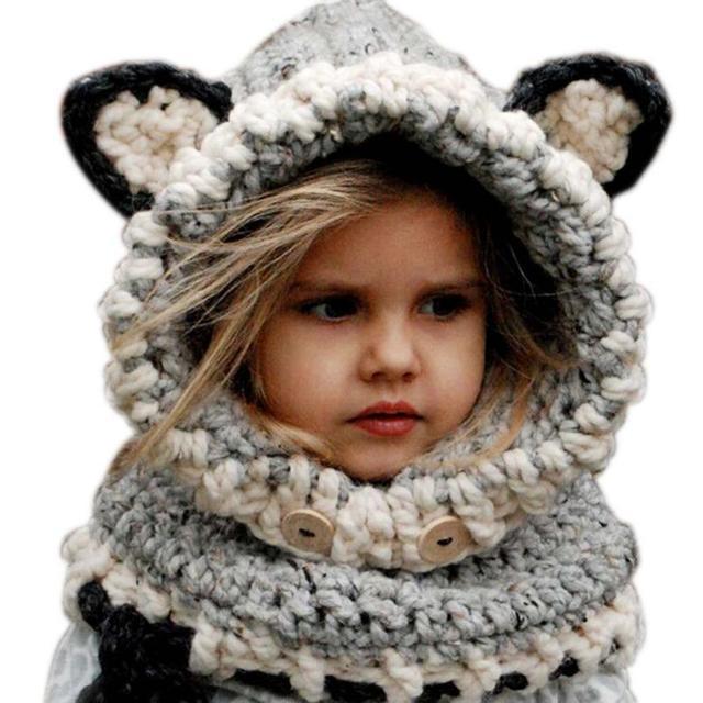 2015 Корейской Зимой Теплый Шеи Wrap Шарф Fox Шапки Дети Шерсть вязаные Шапки Детские Девушки Шали С Капюшоном Капот Шапочка Cap дети подарки