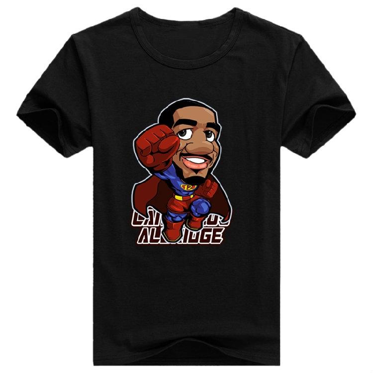 2015 anime swag t shirt game rock weed shark sports basketball Short Sleeve Cheap Hip Hop tees shirt For Men LaMarcus Aldridge(China (Mainland))