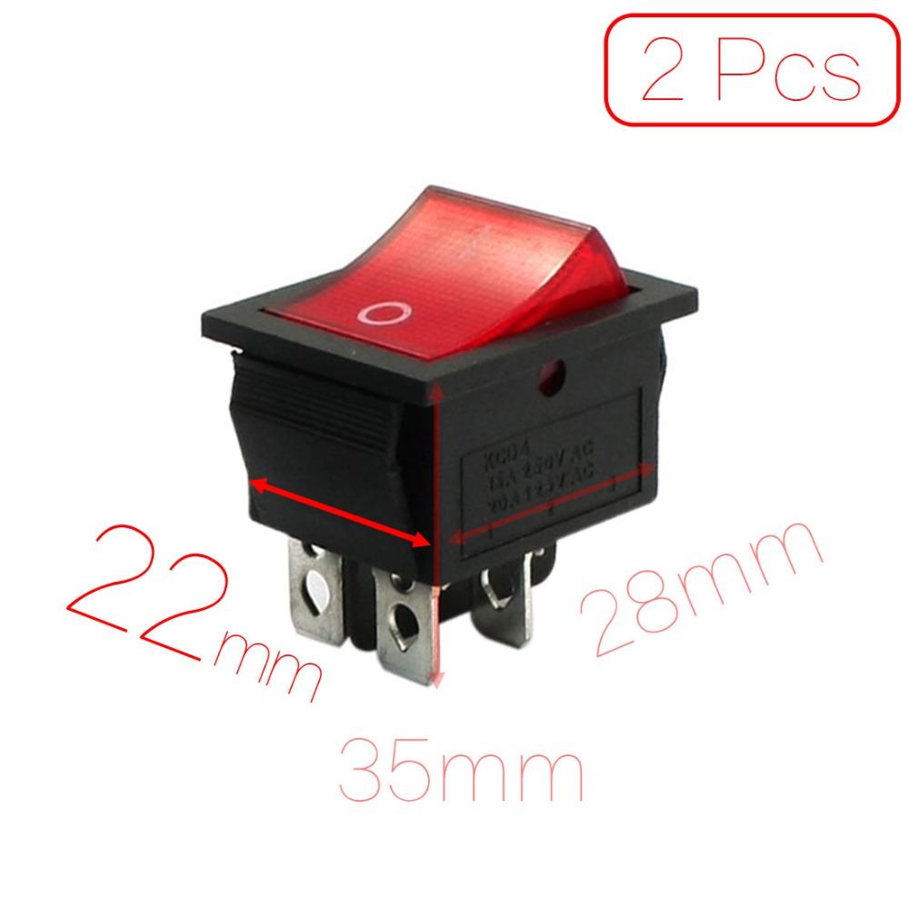 2 Pcs/lot 2 Position 4P DPST Red Pilot Lamp Rocker Switch 15A 250VAC 20A 125VAC Discount 50 Mounting 28mm x 22mm (L*W*H)(China (Mainland))