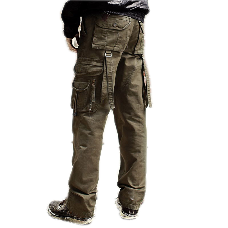 High quality Male Cargo pant men's cotton coveralls man workwear leisure trousers Men's military pants Overalls Breeches(China (Mainland))