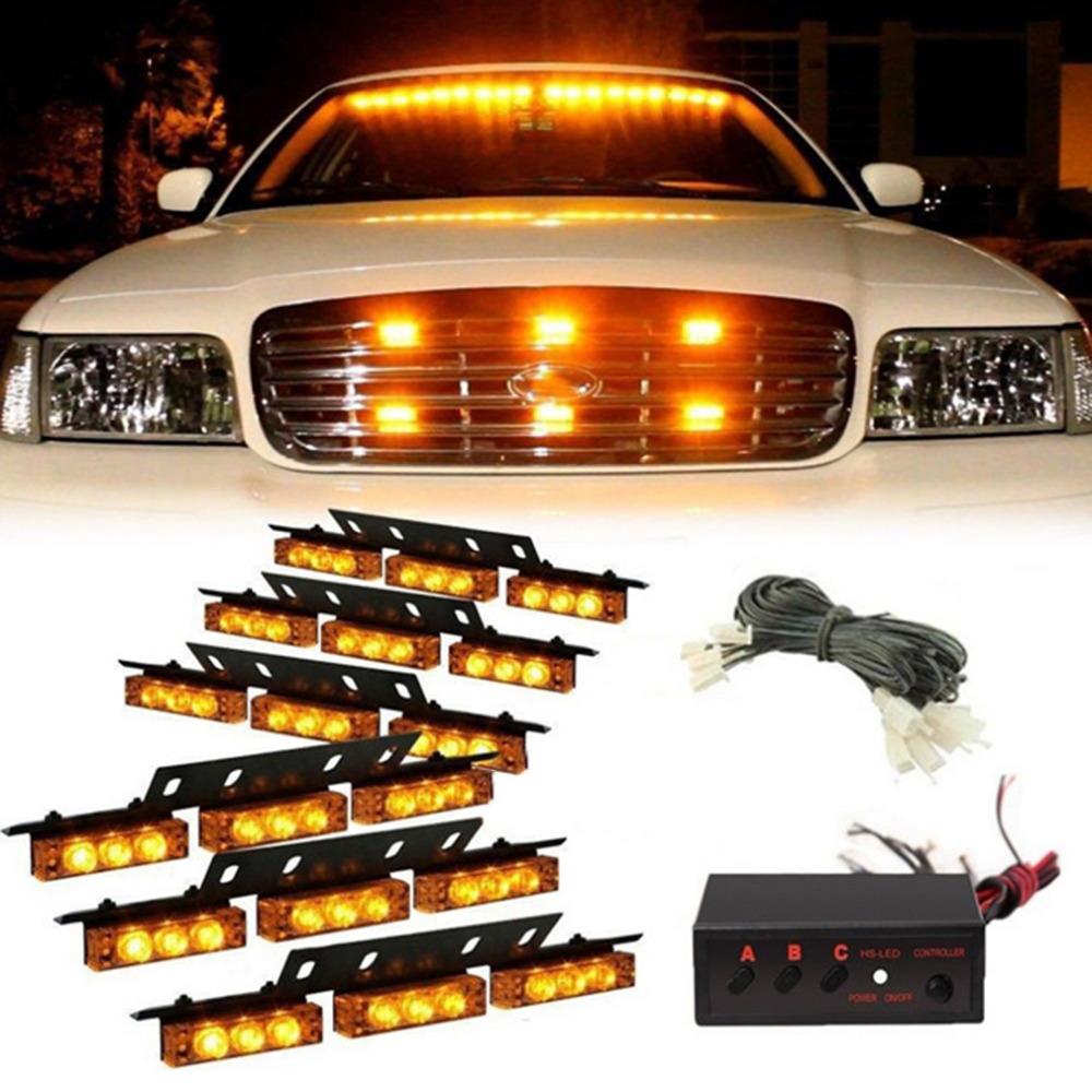 vehicle strobe lights bars warning deck dash grille amber light. Black Bedroom Furniture Sets. Home Design Ideas