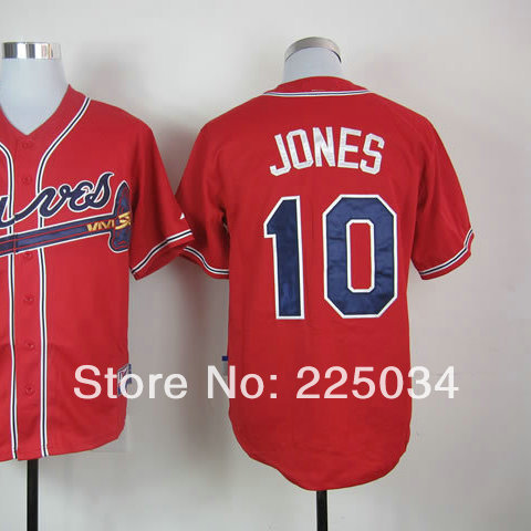 Wholesale Men's American Baseball Jersey #10 Chipper Jones Red Cool Baseball Jersey All Stitched And Sewn On size 48 to 56(China (Mainland))