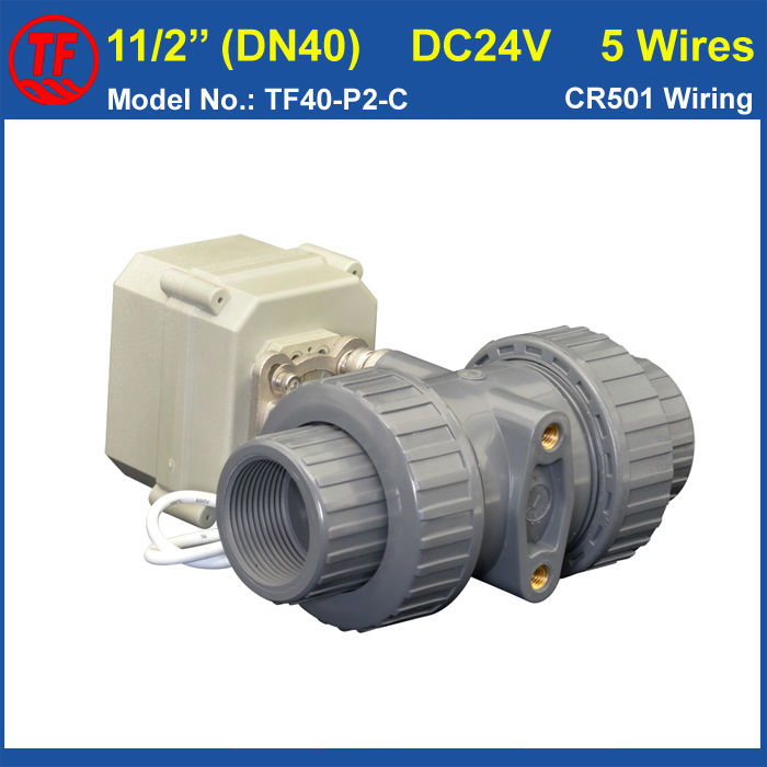Фотография TF40-P2-C, DC24V 5 Wires PVC DN40 Electric Ball Valve BSP/NPT 11/2