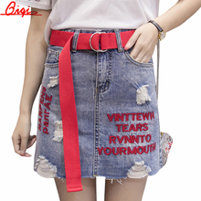 Buy Qiqi Hole embroidery Denim Skirt Women 2017 Summer Style Women Mini Skirts High Waist Pockets Blue Pencil Jeans Skirt for $14.44 in AliExpress store