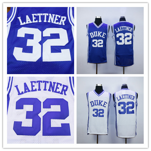 Hot Selling!!Men's #32 Christian Laettner Duke Blue Devils College Throwback Stitched Basketball Jersey White Blue(China (Mainland))