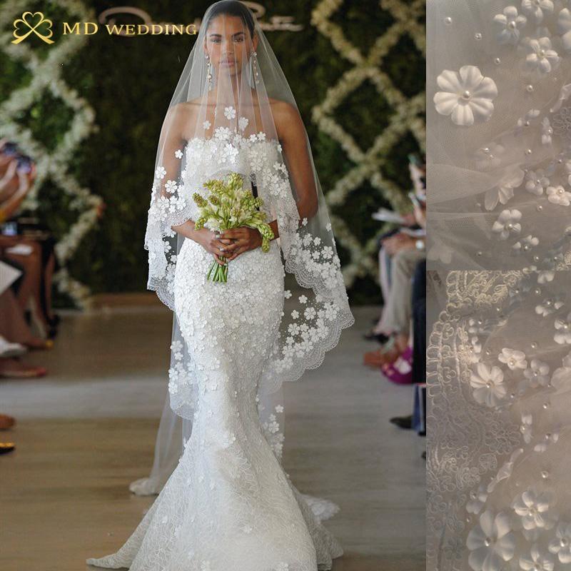 2015 Bridal Veil White/Ivory 3m Long Wedding Veil Mantilla Wedding Accessories Veu De Noiva With Lace Flowers beadwork MD3053(China (Mainland))
