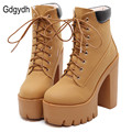 Gdgydh Fashion Spring Autumn Platform Ankle Boots Women Lace Up Thick Heel Martin Boots Ladies Worker