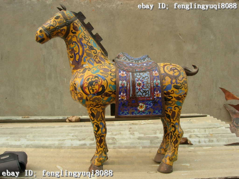 """17""""Chinese classic Copper Bronze cloisonne Fengshui enamel Lucky Horse(China (Mainland))"""