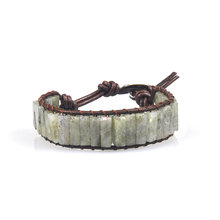 チャクラブレスレットジュエリー手作りマルチカラー天然石チューブビーズレザーラップカップルブレスレット創(China)
