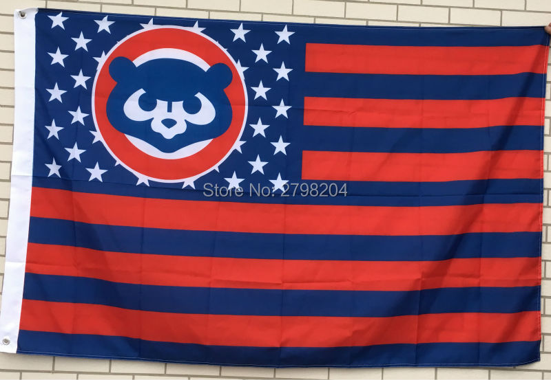 Chicago Cubs Throwback Logo with US Stars Stripes Flag New 3x5FT(China (Mainland))