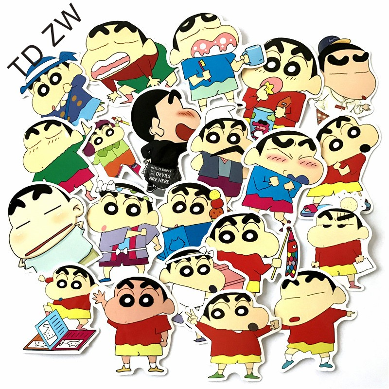 TD ZW 21pcs/lot Japanese cartoon NO repeat Crayon Shin-chan DIY stickers Luggage Suitcases Guitar Skateboard laptop stickers