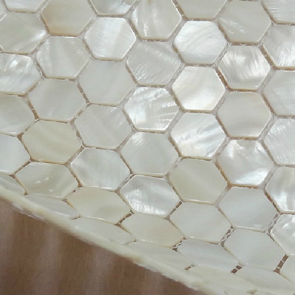 White Hexagon Of Pearl Shell Tile Kitchen 28 Images