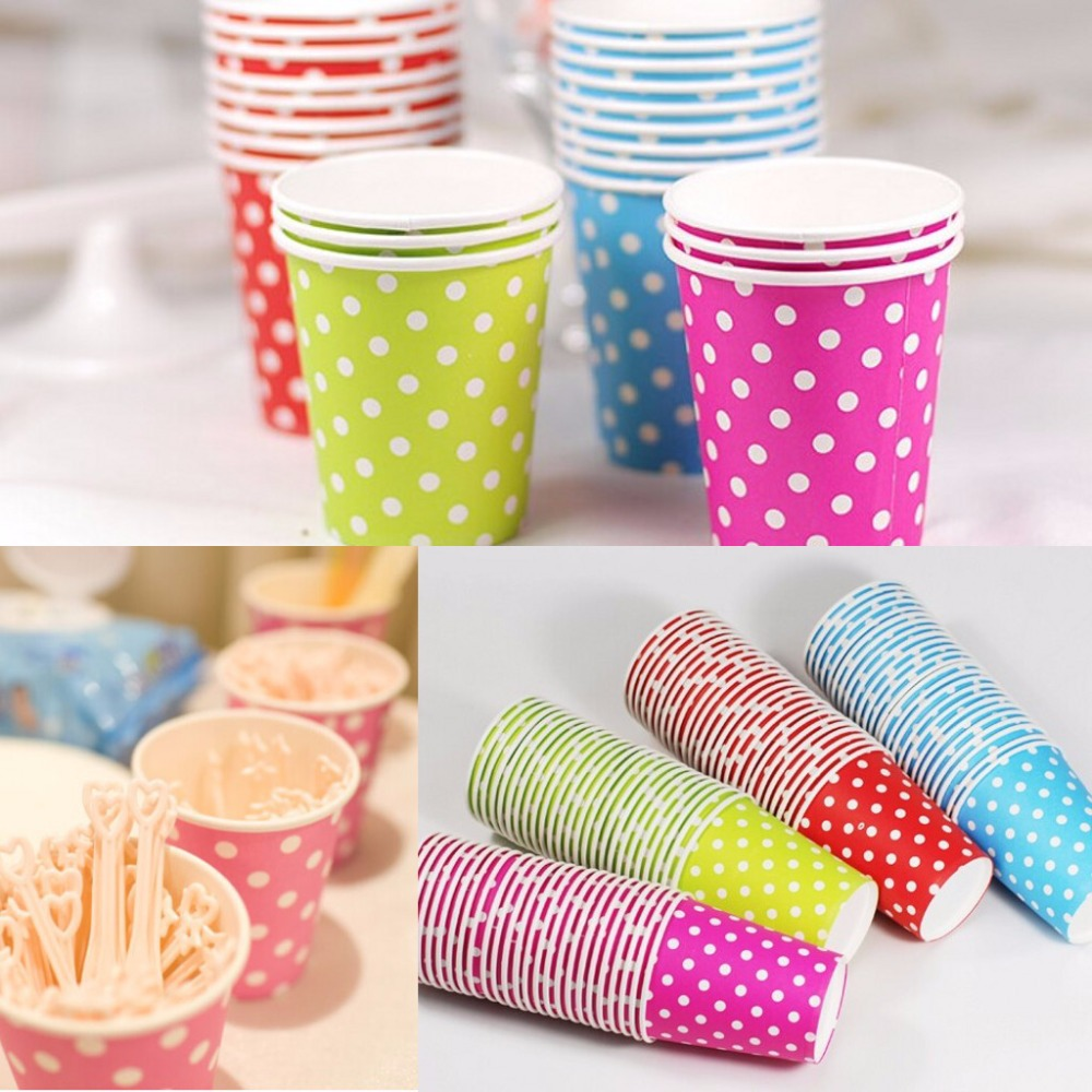 Dot Paper Cups Lovely Wedding Decoration Kids Birthday Party Supplies ...