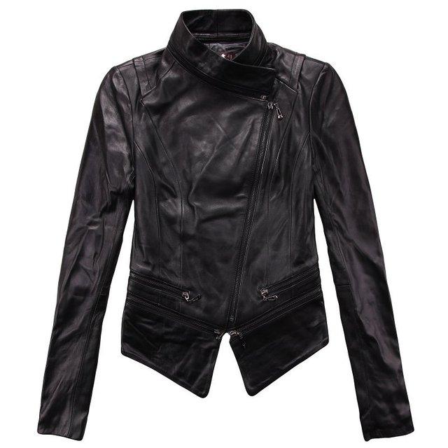 Free shipping! Womes Genuine Leather Jacket / Coat Motobike Leather Jacket  Balck M~2XL 1372