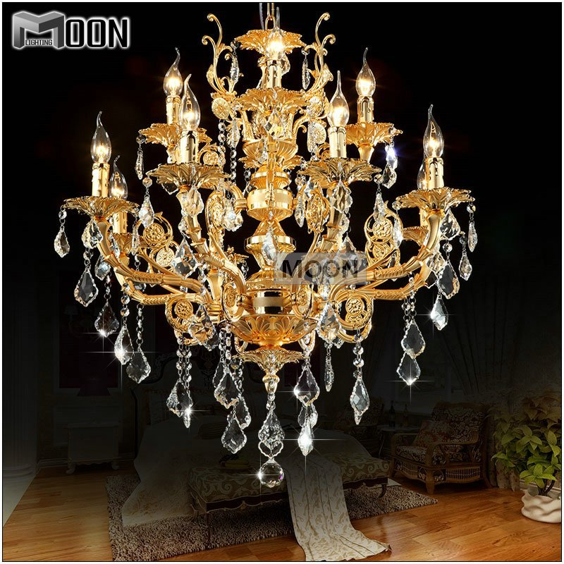 Modern luxury 12 arms crystal chandelier lamp gold for Lustre 3 suspensions