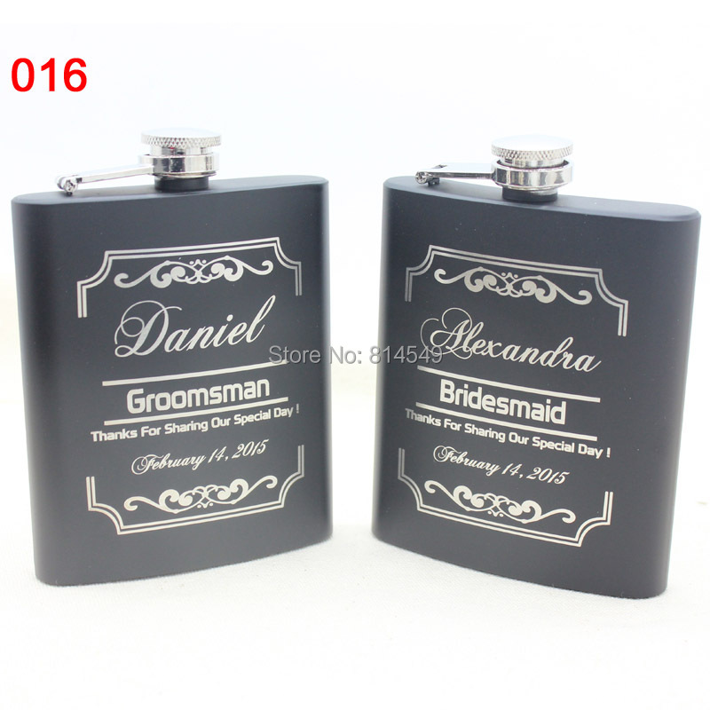 Bride or Groomsman gift for wedding --Personalized hip flask with black gift box(China (Mainland))