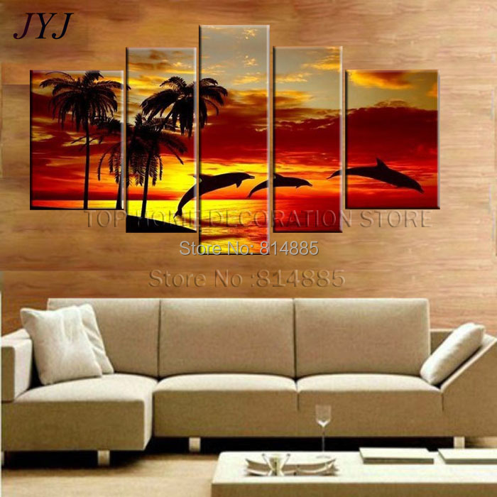 Directly From Artist!! Dancing Dolphin ,100% Handmade Modern Abstract Oil Painting On Canvas Wall Art Gift ,TH012(China (Mainland))