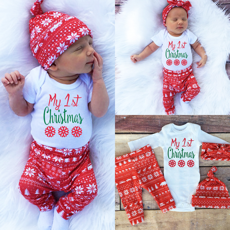 Newborn Baby Girl Clothes Set Xmas Christmas Baby Kids Girls Boys Long  Sleeve Romper Top+Pant+Hat headband Clothes Set