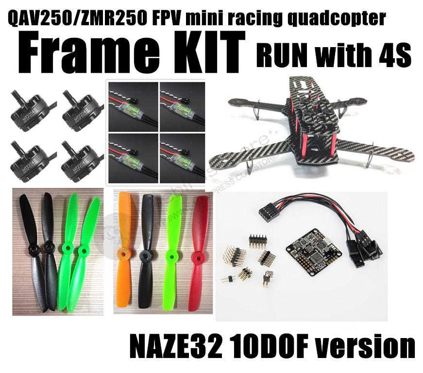 DIY mini FPV cross racing quadcopter QAV250/ZMR250 pure carbon fiber frame run with 4S kit NAZE32 10DOF + EMAX MT2204 II 2300KV<br><br>Aliexpress