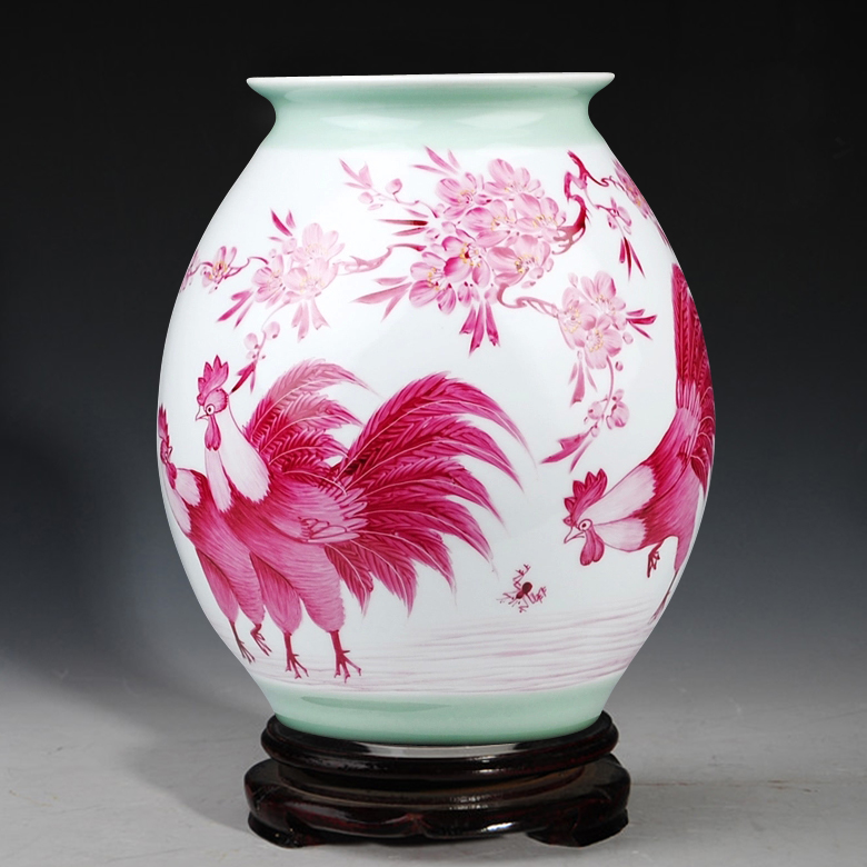 Jingdezhen ceramics works of famous hand-painted vases living room decoration rooster Home Furnishing business gifts