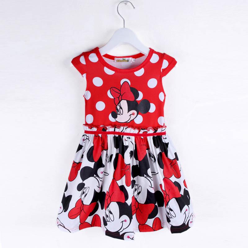 Minnie Mous Girls Dress 2016 Children Summer Dress Clothes Printing Dot Sleeveless Dress Kids Dresses For Girls Free shopping(China (Mainland))