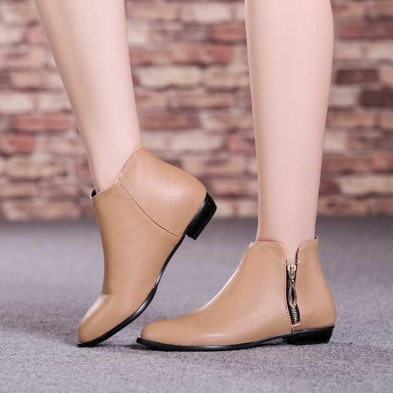 ซื้อ พลัสSize34-45 2016ใหม่ผู้หญิงบู๊ทส์สีดำฤดูใบไม้ร่วงรองเท้าขี่ฤดูใบไม้ร่วงสตรีข้อเท้าบู๊ทส์รองเท้าหิมะSBT3350