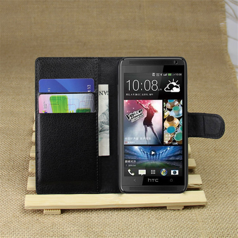 601 Case Luxury Lychee Print PU Leather Case For HTC Desire 601 Case Flip Stand Wallet Phone Shell Back Cover With Card Holder(China (Mainland))