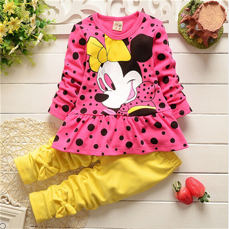2015 Spring Autumn baby girls clothing set children bow clothes kids cartoon shirt + pants suit - Little Angels children's store