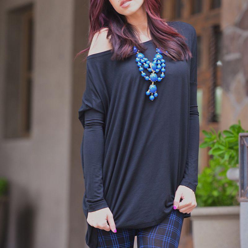 New Women Batwing Plain Long Sleeve Off Shoulder Tops Blouse Plus Size Shirt(China (Mainland))