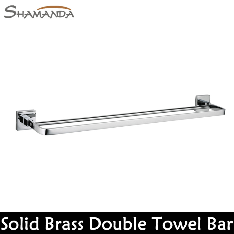 Free Shipping Bathroom Accessories Solid Brass Chrome Finished Double Towel Bar Bathroom Products Towel Holder Towel Rack-99009(China (Mainland))